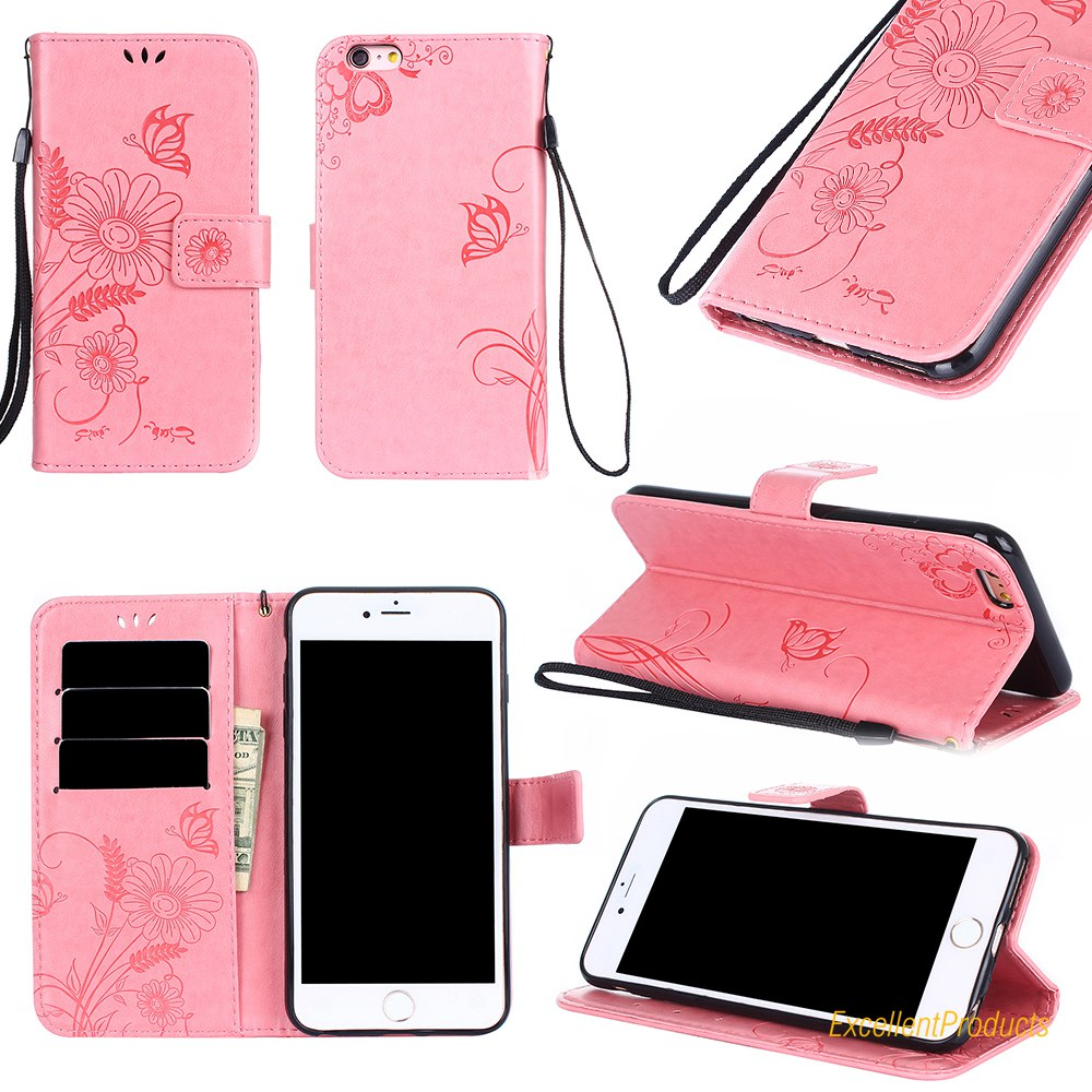 for iphone 6 plus Case Silicone & Luxury ant flower butterfly Leather Wallet Flip Phone cover For iphone 6S plus coque Capa ...