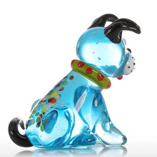 Glass Mini Dog Figurine for Home Decor / Modern Blue Squatting Dog Statuettes