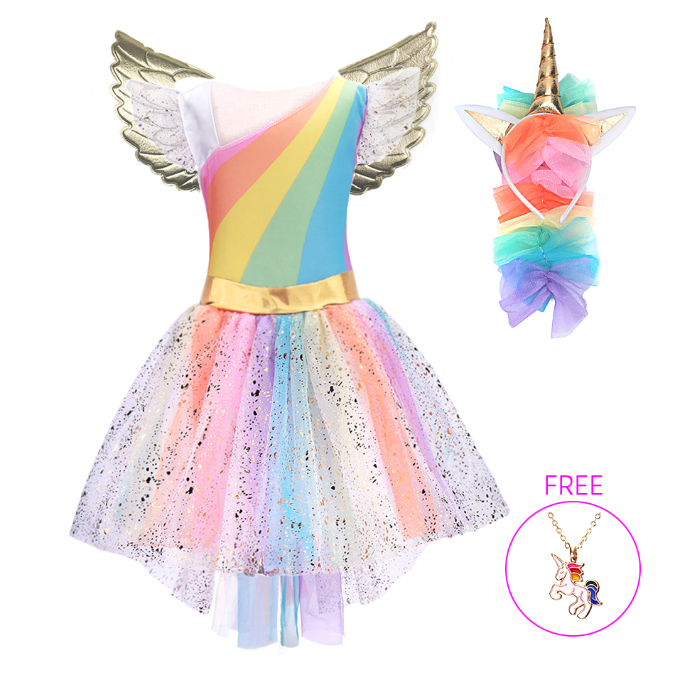 Chicas unicornio traje princesa vestido de Navidad y Año Nuevo 2019 fiesta Cosplay vestido de Tutu con diadema de vestidos para niñas