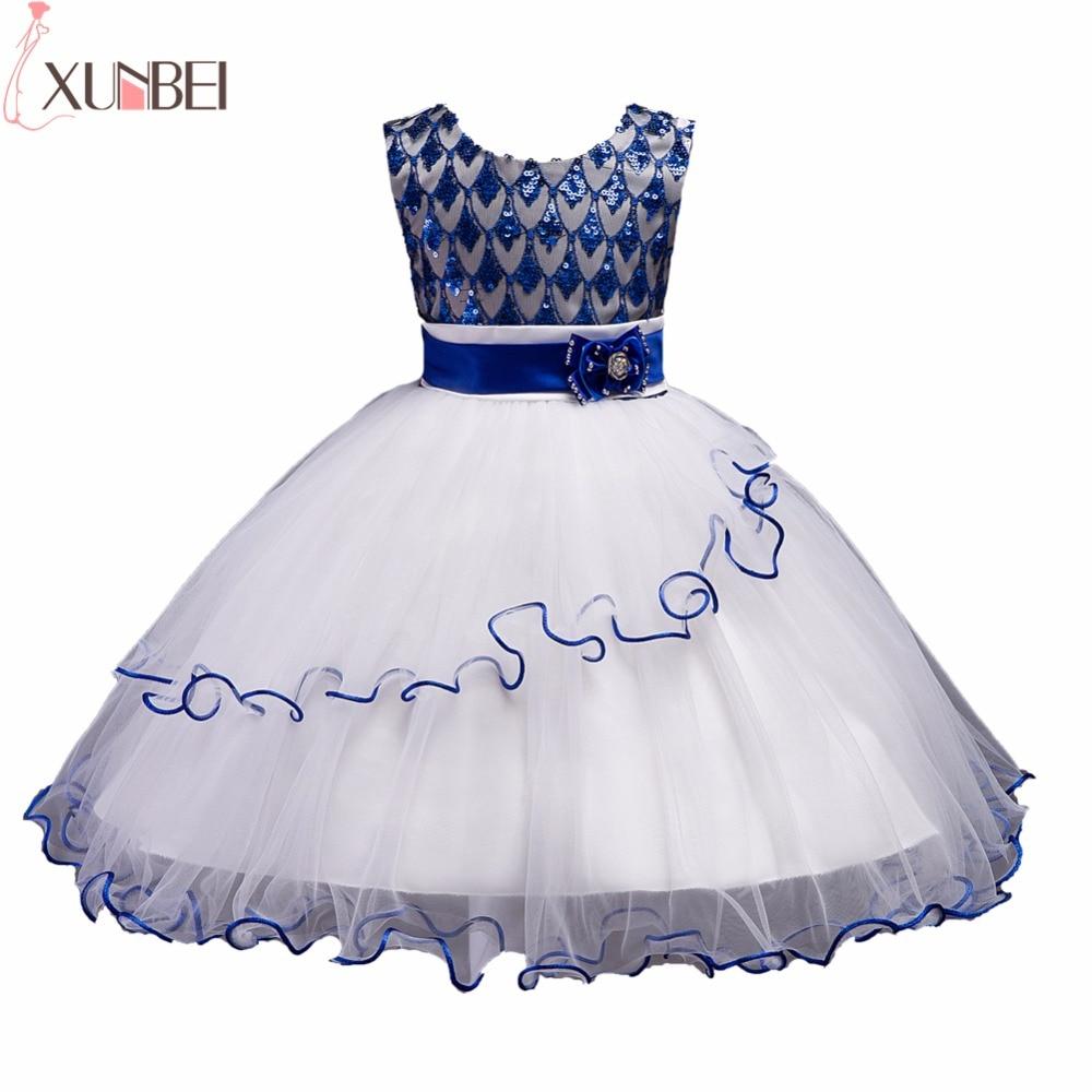Lovely Blue Lace Sequin   Flower     Girl     Dresses   2019 Soft Tulle Ruffles Communion   Dresses   Knee Length Pageant   Dress   For   Girls