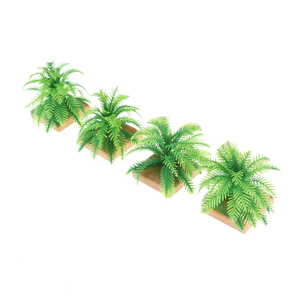 2PCS Miniature Plant Model Simulation Imitative Tree Shrub+Base Pedestal For Sand Table Building Architectural Model