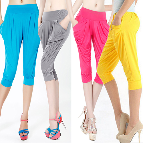 Women Summer Loose Harem   Pants   Candy Color Elastic   Capris   Pockets Trousers New Arrival