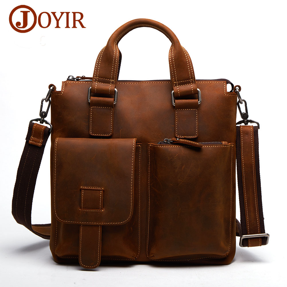 JOYIR Genuine Leather Men Bag Men Briefcases Male Leather business Computer Laptop Bags Crossbody Bags Mens Messenger Bag B259 joyir crazy horse leather briefcases men s genuine leather business bags male shoulder bag laptop bag men office bags for men
