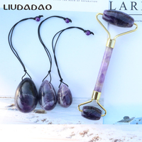 Natural Amethyst Yoni Eggs with beads Jade Ben Wa Ball Eggs Kegel Exercise Women Body Care Face Lift Rollers Massager Set Roller