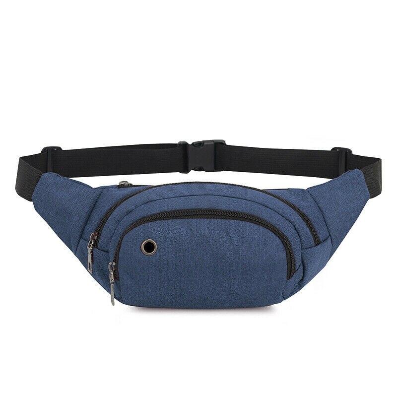 Fanny Pack Casual Outdoor Sports Waist Bag Men's Women's Universal Pochete Running Chest Bag + Headphone Hole