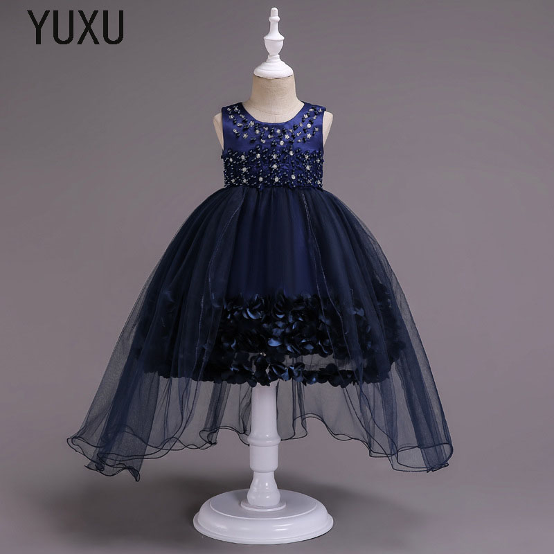 2018 new Girls Lace Wedding Dress First Communion Gown for Girls Flower Handmade Beading Party Christmas Princess Birthday Dress princess flower girls tutu dress with lace straps girls evening dress for birthday party wedding flower ball gown handmade dress