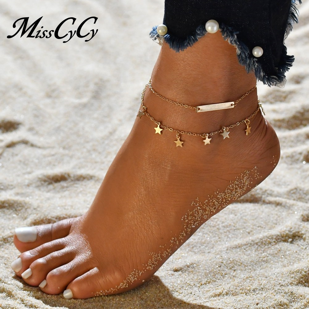 MissCyCy Boho Style Star Anklet Fashion Multilayer Foot Chain 2018 New Ankle Bracelet for Women Beach Accessories Gift