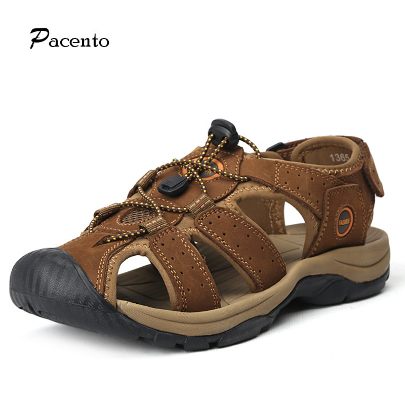 PACENTO 2017 New Genuine Leather Men's Sandal Summer Beach Breathable Men Sandals Man Causal Shoes Large Size 11 Chaussure Homme 2016 summer men sandal sale medium b m back strap shoes melissa genuine leather sandals new men s beach shoes free shipping