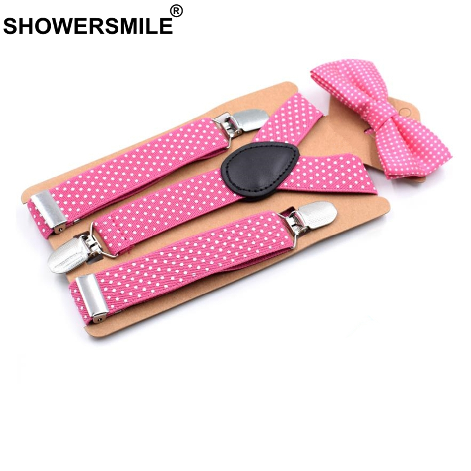 SHOWERSMILE Kids Suspenders And Bow Ties Children Dot Pants Suspenders Trousers Pink Purple Black Gray Boys Grils Unisex Braces