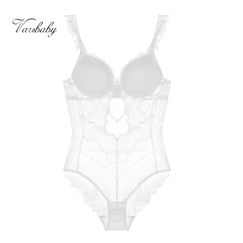 Varsbaby sexy push up deep V one-piece underwear   set   eyelash beauty back shape body   bra     set