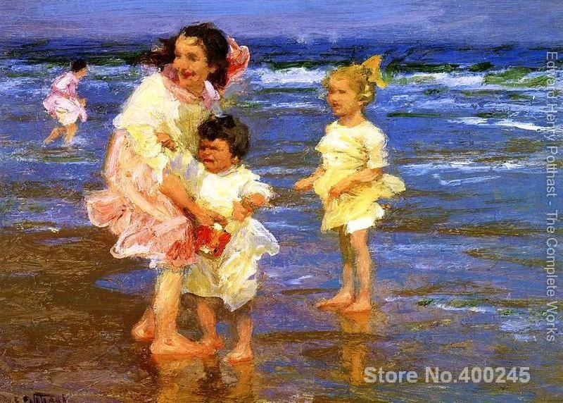 oil Paintings Children on the beach Cold Feet Edward Henry Potthast painting High quality Hand painted modern art seascapes