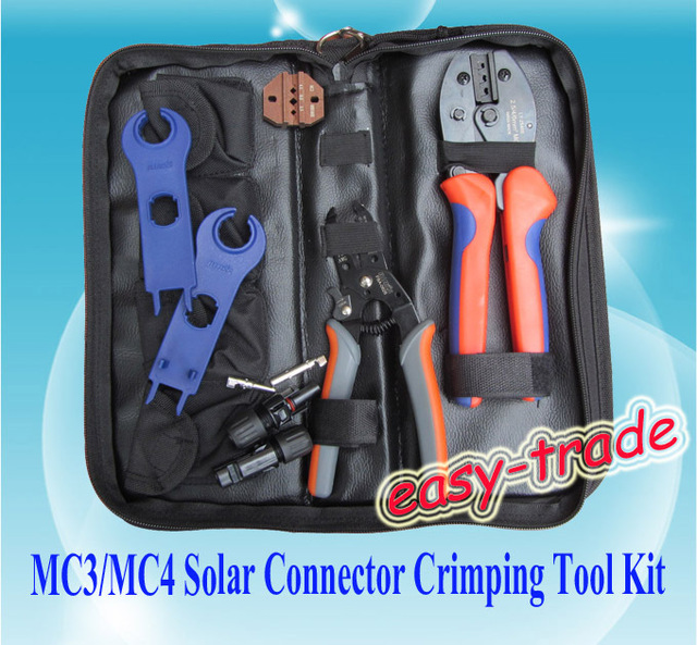 MC3/MC4 Crimping/Cutting/Stripping with MC4 connector/spanner-MC3/MC4 tool kit, FREE SHIPPING+FAST DELIVERY.