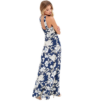 2019 Verão Maxi Vestido Longo Mulheres Halter Neck Vintage Floral Print Sem Mangas Boho Vestido 5XL Plus Size Sexy Beach Dress Vestido 1