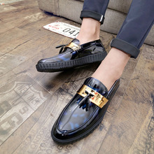 Купить с кэшбэком Men Patent Leather Shoes For Men 2019 Spring Pointed Toe Casual Business Formal Men Shoes Wedding Party Dress Shoes 226