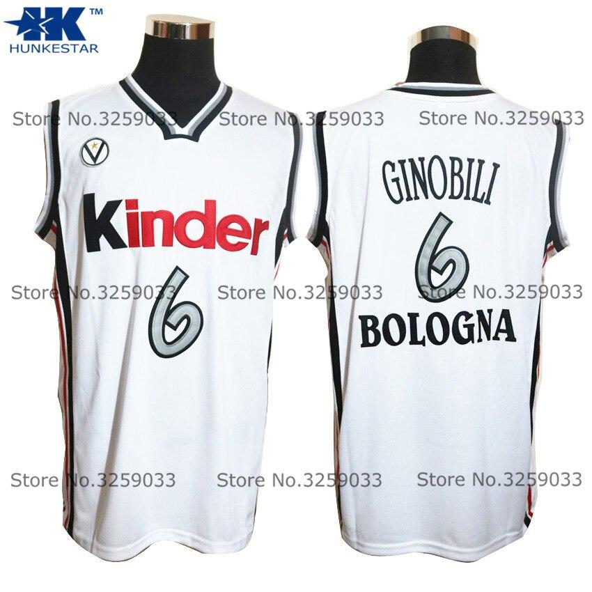 Herren Manu Ginobili Jersey #6 Virtus Kinder Bologna Euro Rückschritt Basketball Jersey MANN Korb Uniformen Genäht Trikots Shirts