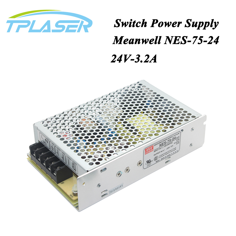 Taiwan Meanwell Switching Power Supply NES-75-24 24V 3.2A 75W for Laser Controller Single output DC Power Supply laser cutting marking engraving machine diy parts meanwell mw nes 350 24 350w 24v power supply switching switch power supply