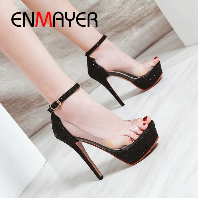 187b93d3 ENMAYER 2019 New Arrival Women Summer Fashion Super High Sandals Gladiator  Party Women Shoes Sexy Solid Size 34-43 LY1730