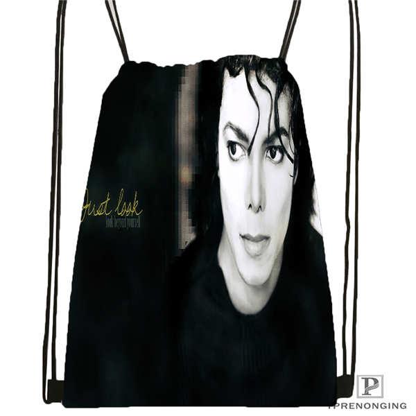 Custom michael jackson Drawstring Backpack Bag Cute Daypack Kids Satchel Black Back 31x40cm 180612 02 20