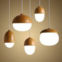 Solid Wooden pendant lamps personalit study dining room bar bedside bedroom nut lamp single head clothing store MZ8