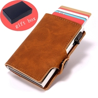 Men Leather Aluminum Wallet With Back Pocket ID Card RFID Blocking Mini women Wallet Automatic Credit Card Purse Holiday gift
