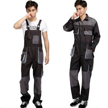 Bib overalls männer arbeit overalls schutzhülle werker strap overalls hosen arbeiten uniformen plus größe ärmellose overall