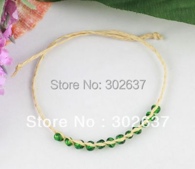 FREE SHIPPING 24PCS glass seed braided raffia wish bracelets #21623- #21631