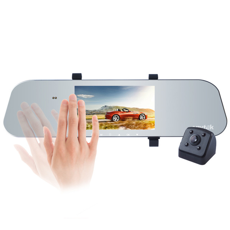 Anytek A80 Dual Lens DVR Camera Car Video Recorder Ultra thin Rearview Mirror 1080P G-Sensor Gesture sensing Dash Cam cu200 7 gps 3g car dvr камера ночного видения dash cam rearview mirror video recorder hd 1080p g sensor loop recording