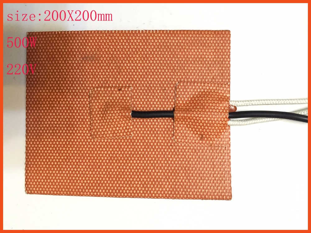 200X200mm,500W 220V, w/Thermistor, Silicone Heater Cube Prusa i3 RepRap 3D Printer Heater,Heatbed, film heater,oil heater