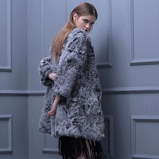 Genuine real natural wool fur coat fashion Slim and long sections Lamb Fur women v neck jacket