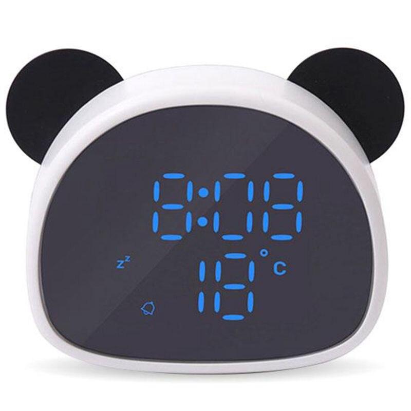 Electronic Digital Led Alarm Clock Creative Cartoon Panda Mirror Clock Snooze Voice Recording Home Decor For Children'S Gift