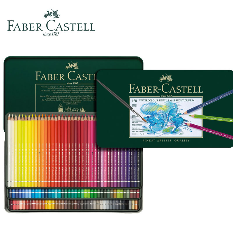 цена на Faber-Castell Polychromos Color Pencils 12/24/36/60/120 Water Soluble Finest Artists Quality,Lapices Color Green Iron Box