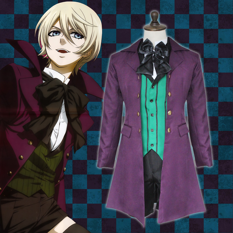 Anime Black Butler 2 Kuroshitsuji Alois Trancy Uniform Outfits Cosplay Costumes Full Set (Outer + Vest + Shirt + Shorts+Bow tie)