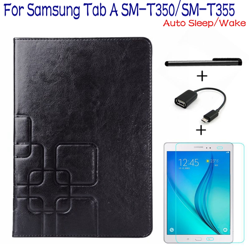 Подробнее о 4 in 1 Luxury Stand Smart PU Leather Cover for Samsung Galaxy Tab A 8.0 T350 T355 Tablet Case+Free Screen Protector+OTG+Pen top quality smart pu leather cover for samsung galaxy tab s2 9 7 t810 t813 t815 t819 tablet case free screen protector otg pen