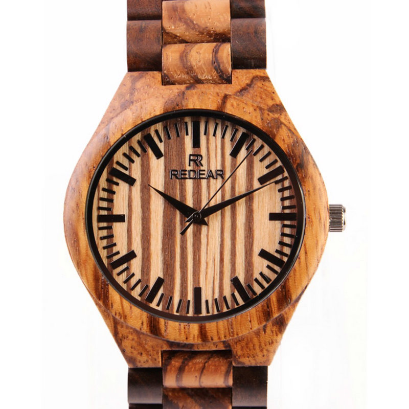 2017 new simple luxury men's watch top brand zebra wood watch hand made wooden watch Japanese quartz movement Relogio Masculino natural hand made classic red wooden men quartz watch bracelet clase full wood band simple scale dial cool gift reloj masculino