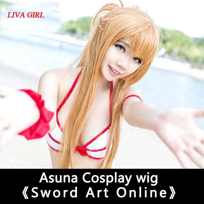 LIVA GIRL 100cm long wig Sword Art Online Cosplay Wig Asuna Costume Play Wigs Halloween party Anime Game Hair High Quality