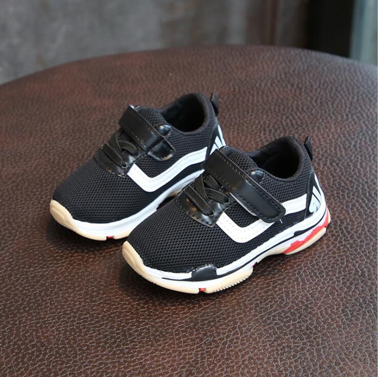 Обувь для детей спортивные кроссовки для мальчиков 2018 Демисезонный Мода 1-2-3-4-5 лет обувь для девочек- слип Чистая дышащая детская обувь