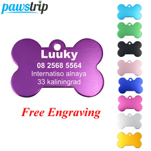 pawstrip 2pcs/lot Personalized Dog ID Tags Aluminium Customized Pet Tag For Cats Engraved Bone Collar Pendant