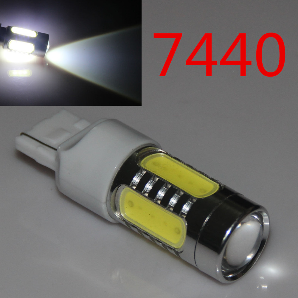 цена на 1PC 7440 T20 7.5W LED COB 12V WY21W Lens Backup Reverse Light car styling White