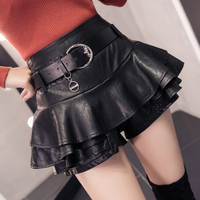 2018 autumn and winter new Korean version of the high waist PU leather skirt wild lotus leaf cake skirt pettiskirt shorts skirt