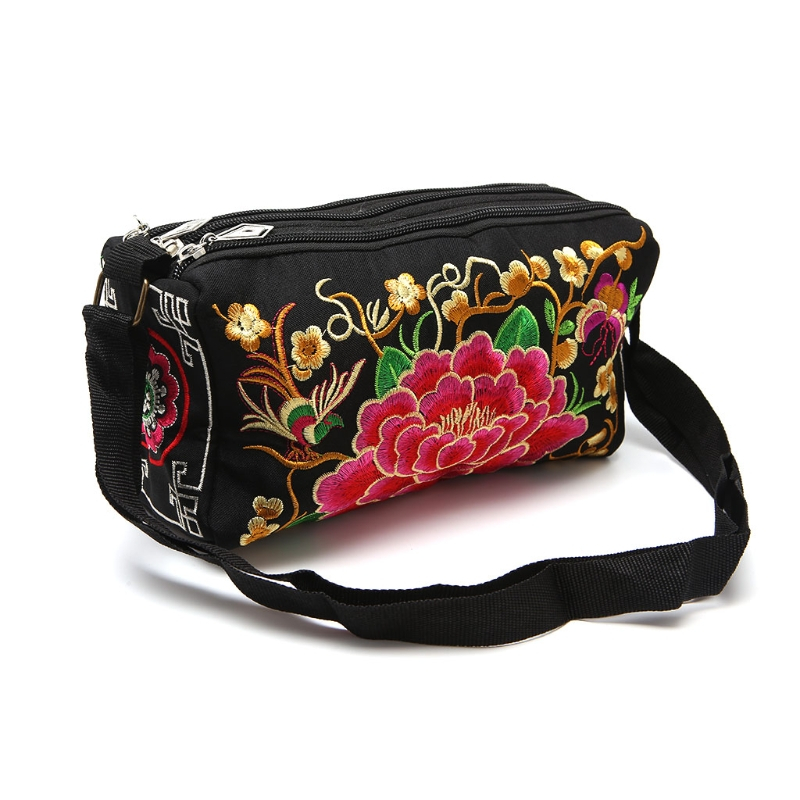 2017 Women Embroidery Ethnic Boho Shoulder Bags Handbag Tote Flower Canvas Crossbody Fashion New Girl Lady Brand Bags Zip Soft