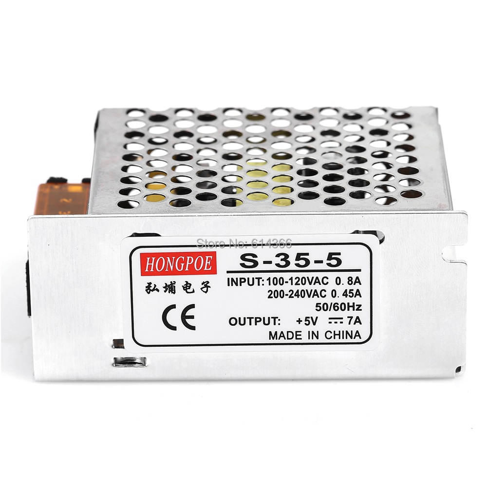 100PCS Wholesale Best quality 5V 7A 35W Switching Power Supply Driver for LED Strip AC 100-240V Input to DC 5V s 360 5 dc 5v 360w switching power source supply 5v led driver good quality power supply dc 5v