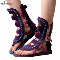 Rome Design Women Genuine Leather Hollow Out Gladiator Sandals Casual Flat Shoes Summer Ladies Beach Flip