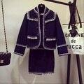 female small tweed fabric tassel five-pointed star buckle short tweed jacket outerwear + tassel short skirt set