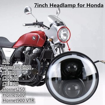 Motorcycle 7inch Round Headlight with white ring For Honda CB500 CB1300 Hornet250 Hornet600 Hornet900 VTEC VTR250