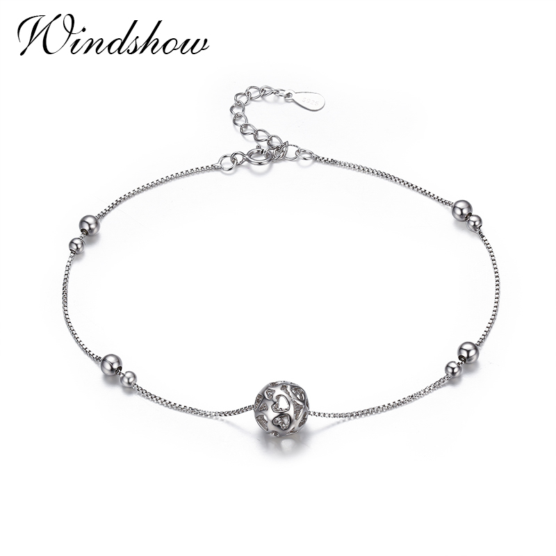 925 Sterling SIlver Chain Heart Cut Ball Foot Jewelry Anklet for Women Girl Leg bracelet cheville enkelbandje halhal tobillera цена