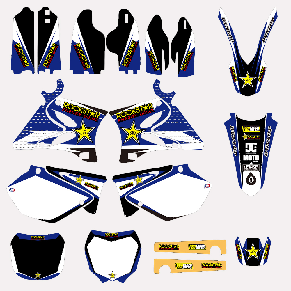 Motorcycle RockStar TEAM GRAPHICS DECALS STICKERS For Yamaha YZ125 YZ250 YZ 125 250 2002 03 04 05 06 07 08 09 10 11 12 2013 2014