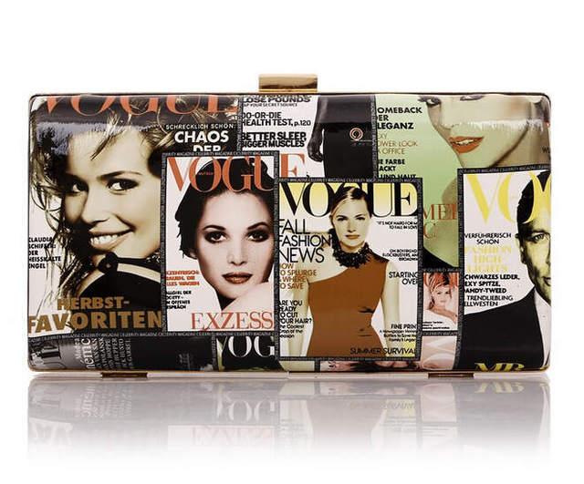 Customize women magazine clutch Fashion Magazine cover Art PU leather handbag purse vogue Bazaar bags brand evening bag