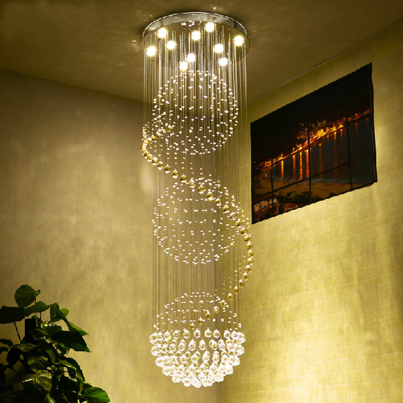 Round Ball Chandelier Living Room Modern Crystal