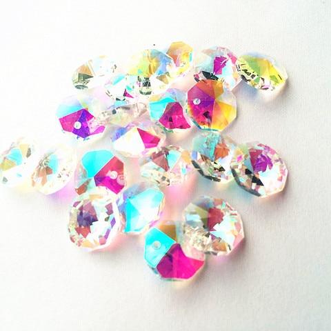 o envio gratuito de 100 pcs lote limpar ab 14mm vidro cristal lustre octagon contas