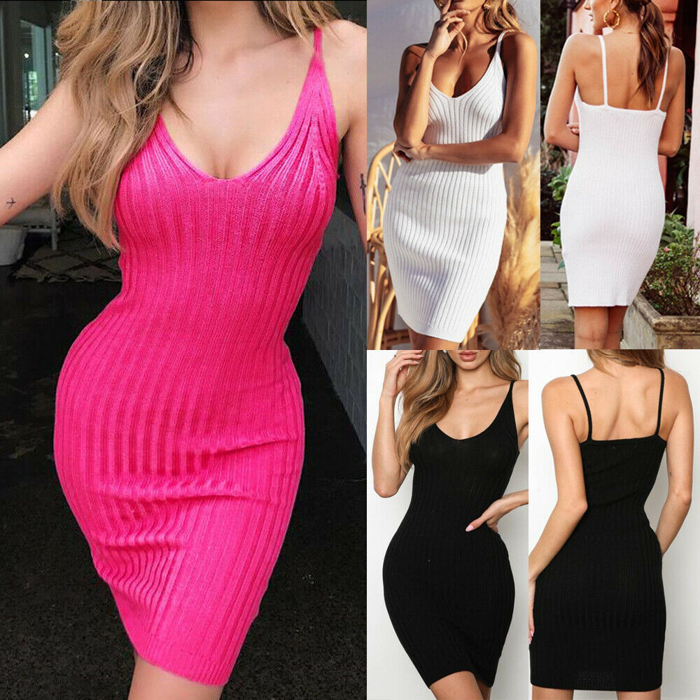 Women Sexy Bodycon Dress Casual Summer Sleeveless Cocktail Club Short Mini Dress Pencil Bandage Party Dresses